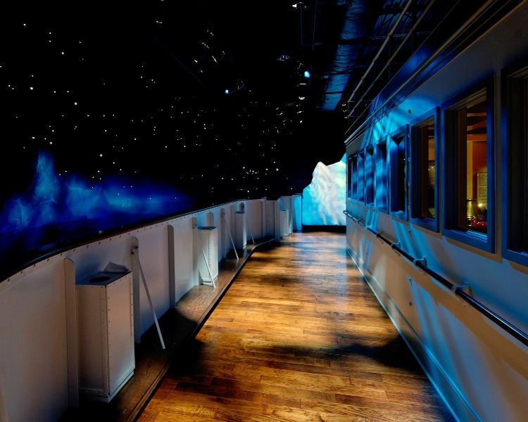 Inside the Titanic Museum Attraction, the captain's bridge, an iceberg and buckets of water kept at the same water temperature the night the RMS Titanic sank.