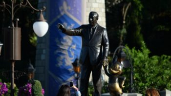 The iconic statue of Walt Disney and Mickey Mouse in Magic Kingdom.