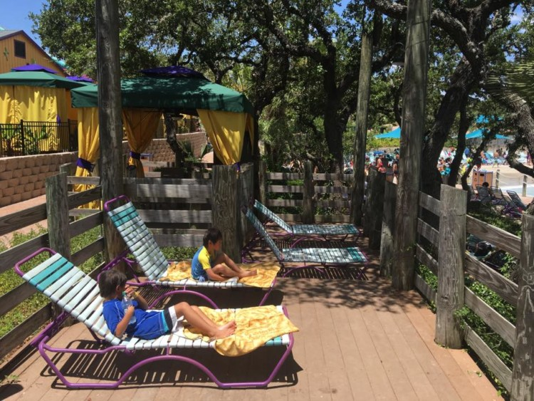 Lounge chairs are complimentary in a standard cabana rental at San Antonio Aquatica