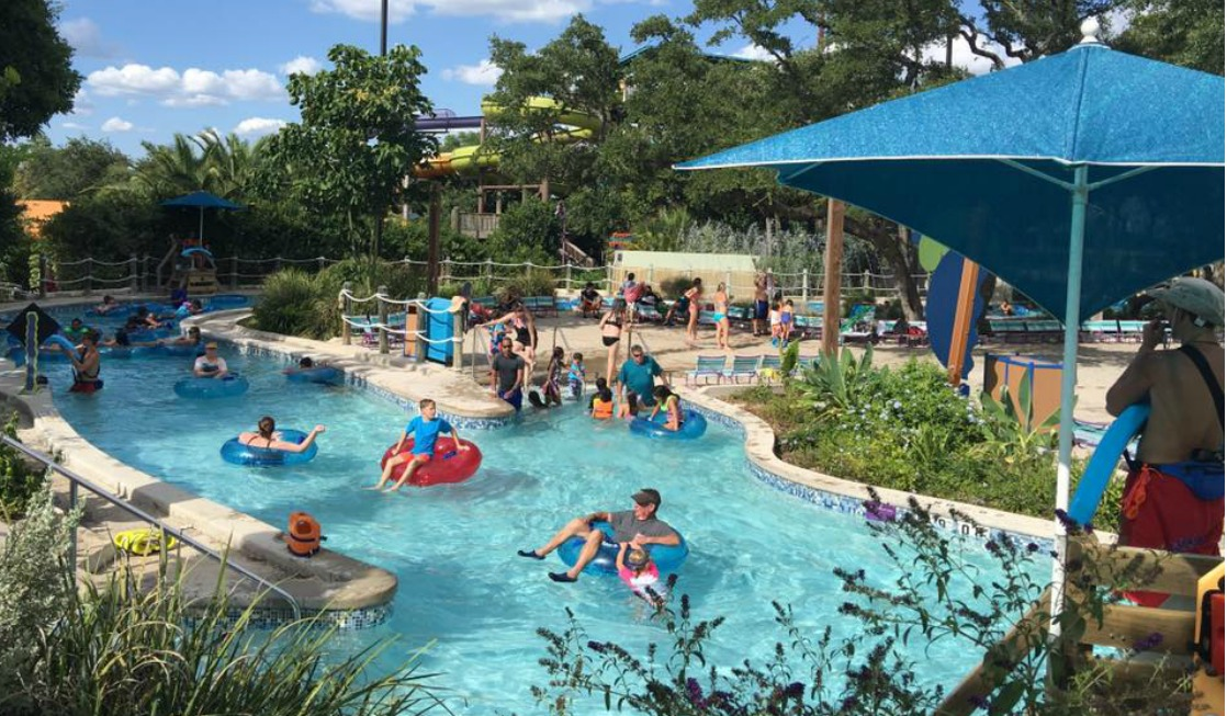 A pool ready for relaxing at Aquatica San Antonio.