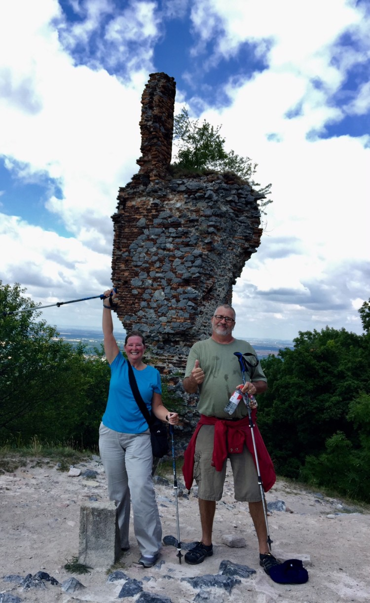 Climbing to the top to see the ruins of a castle in the Carpathian Mountains of Slovakia.