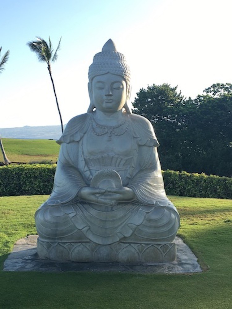 Buddha Point at the Hilton Waikoloa Village is marked with one of the resort's many statues.