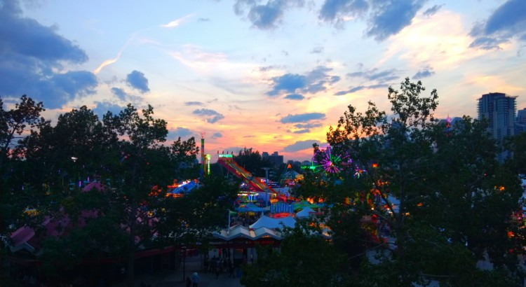 The Calgary Stampede fair grounds at sunset