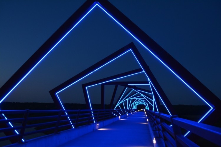 The High Trestle Trail Bridge lights up at night in Central Iowa.