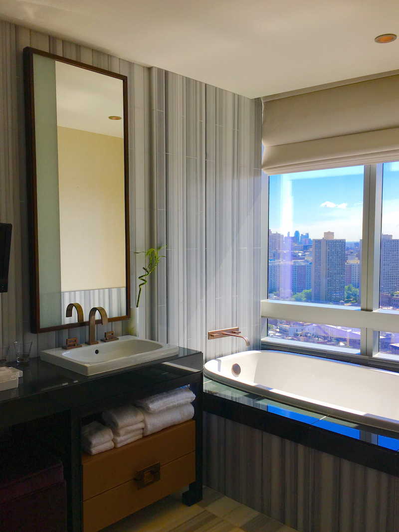 Enjoy NYC luxury for families with five-star bathroom.