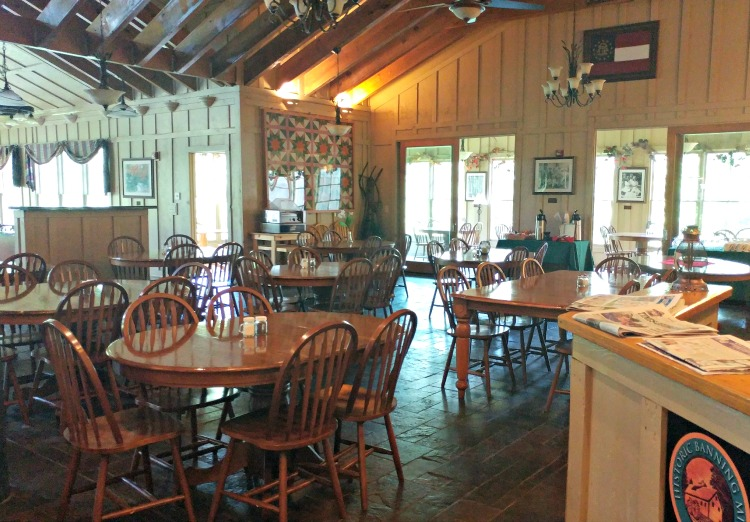 Enjoy your meals in a lovely and rustic lodge setting at Historic Banning Mills in West Georgia.