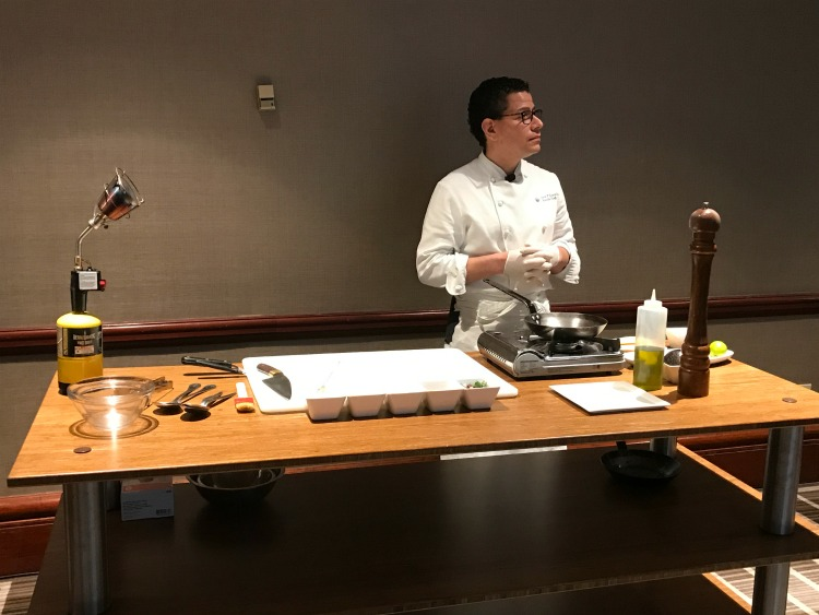 Chefs at the Hilton Short Hills hosted a cooking demo for influencers attending a TravelingMom event.
