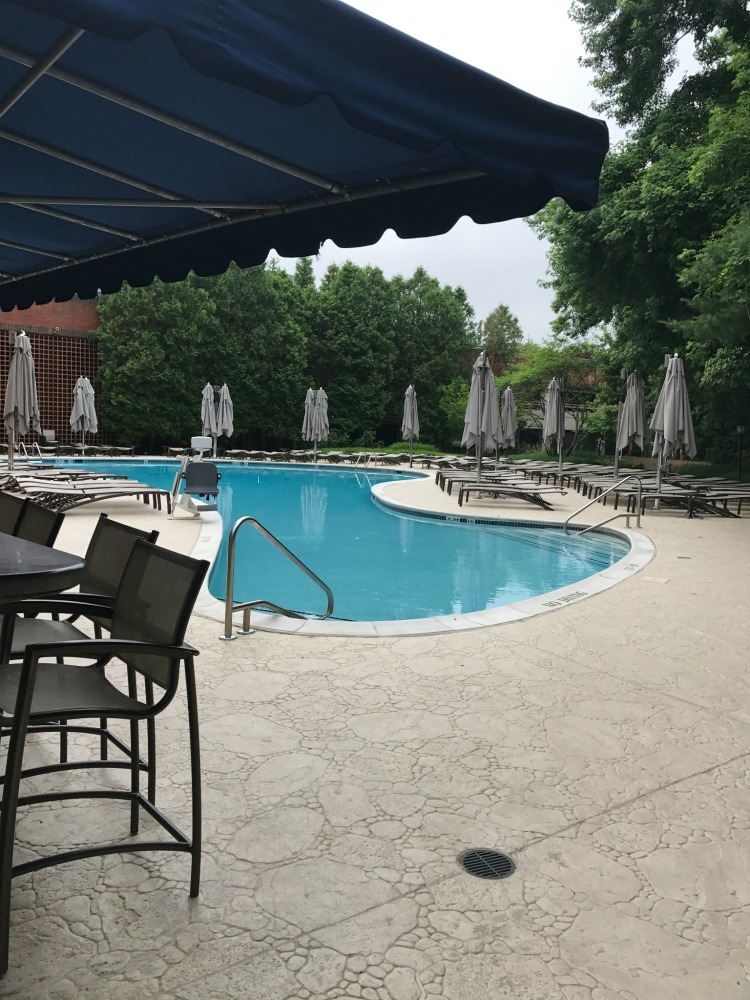 The Hilton Short Hills New Jersey outdoor pool offers a great hotel pool atmosphere for families