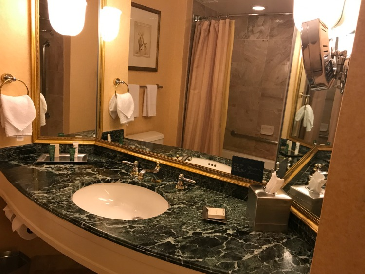 The Hilton Short Hills New Jersey room bathroom provides ample room for family members to prepare for their day.