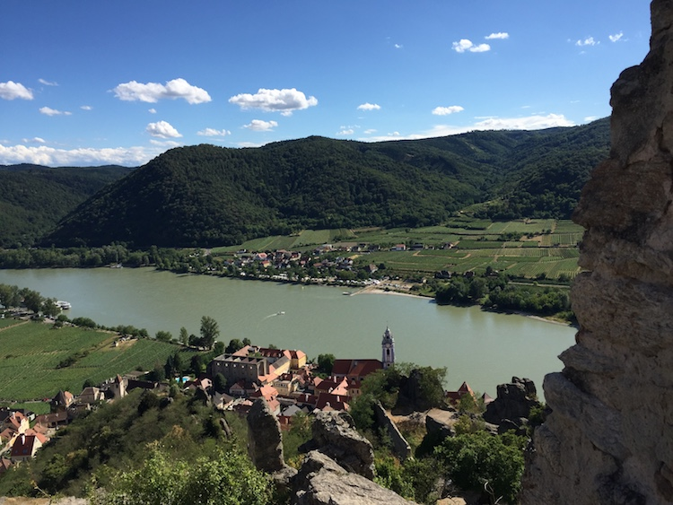 On our European river cruise, we hiked up the hill for this view of Durnstein, Austria