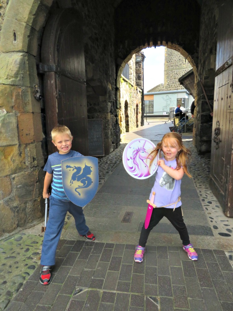 When visiting castles with kids let them use their imaginations and take on the role of knight or princess.