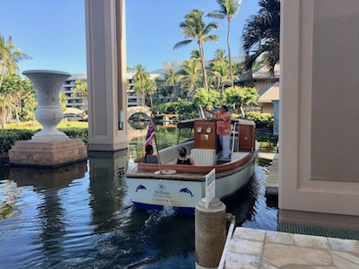 The canal boats at the Hilton Waikoloa Village are a great way to get around the resort.