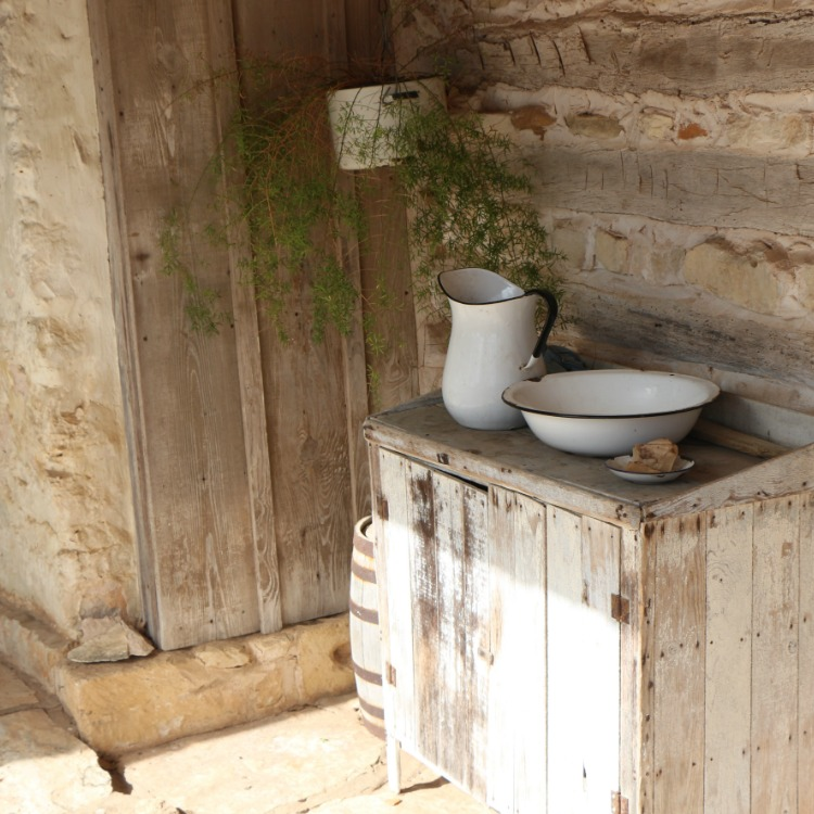 A washing station at an old farmhouse we visited in Fredericksburgh, Texas with kids
