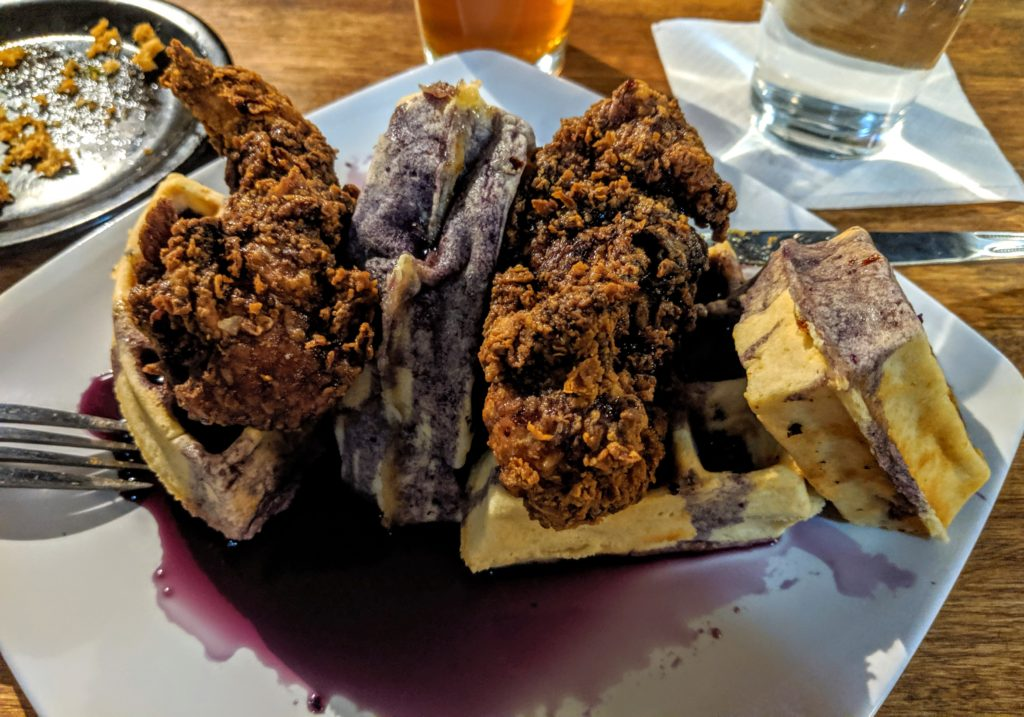 Chicken and waffles at White Squirrel Brewery in Bowling Green KY