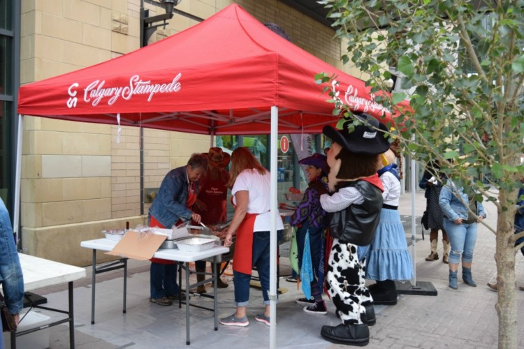 Free Stampede breakfast on Stephen Avenue, one of many ways to do the Calgary Stampede right