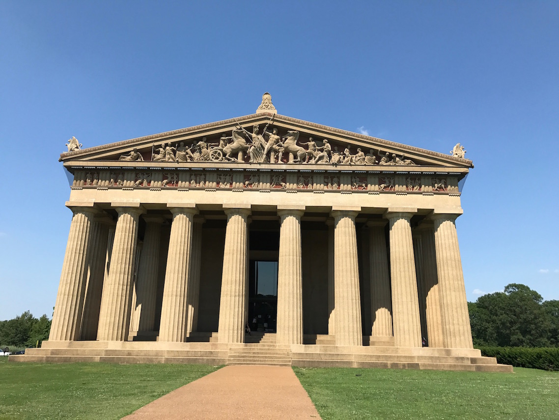 One of the free things to do in Nashville: see this view of Nasvhille's Parthenon