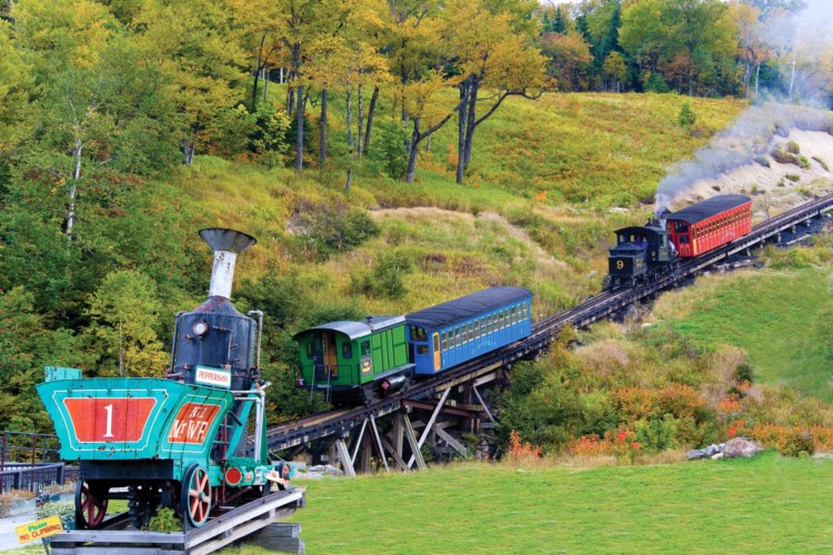 The Mount Washington Cog Railway runs two types of engines, steam and biodiesel.