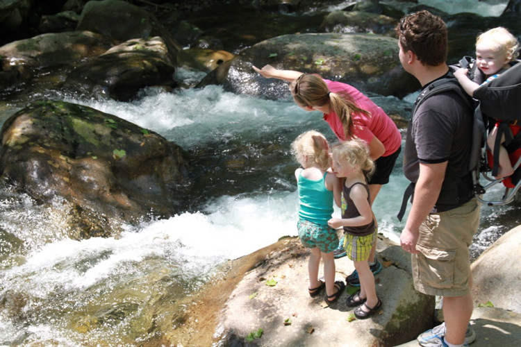 a family points across a creek as they look for a geocache in Cincinnati