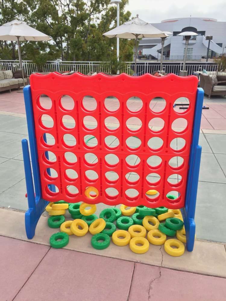 The life size version of Connect Four is a fun game to play poolside at Loews Coronado Bay Resort near San Diego, California.