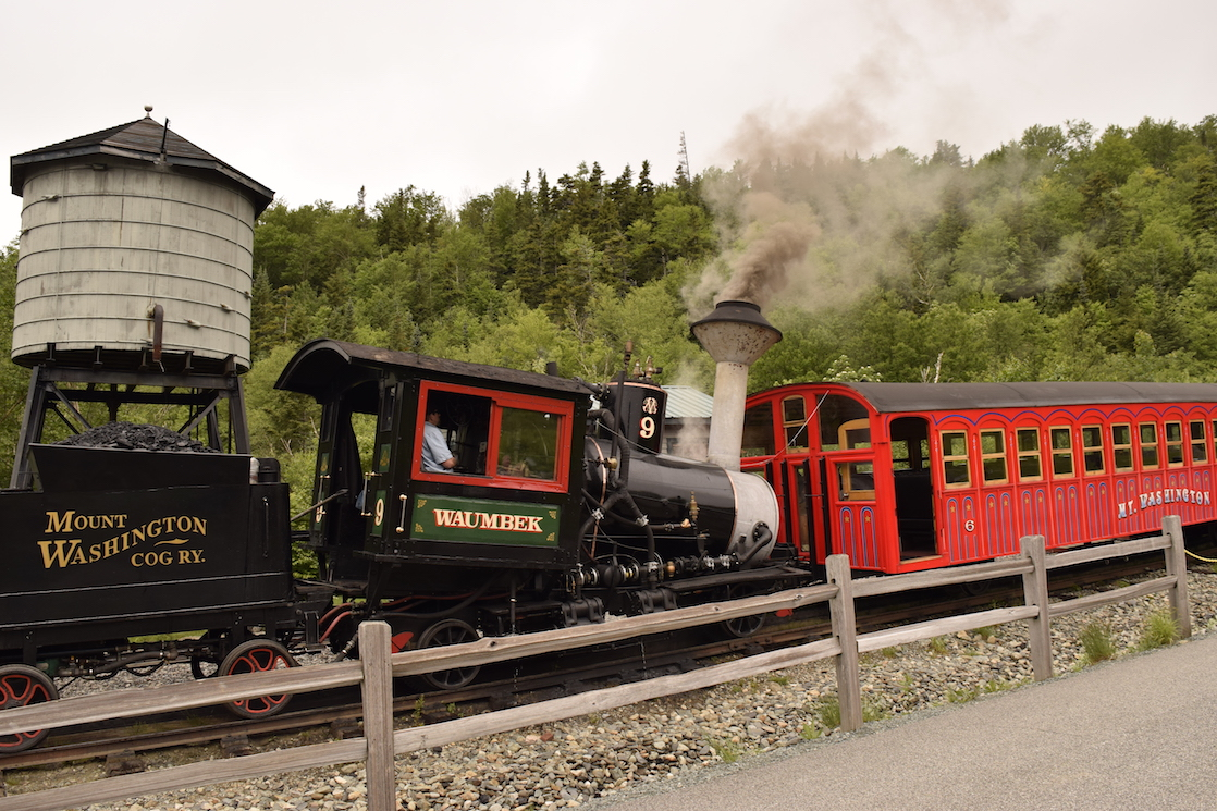 A favorite New Hampshire road trip attraction is the Mount Washington Cog Railway.