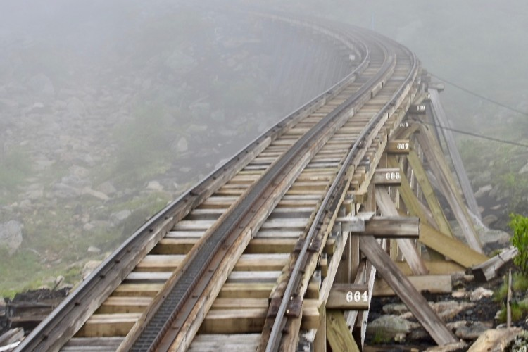 The Mount Washington Cog Railway trestle tracks.