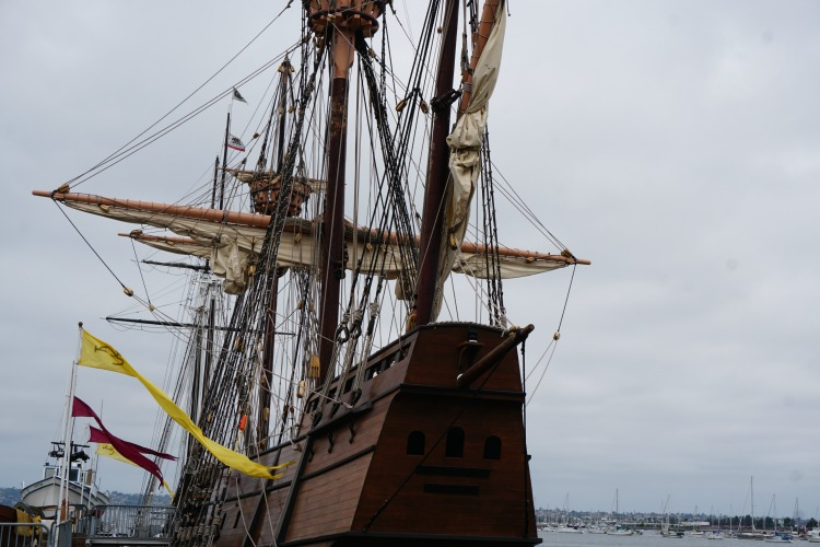 One of the ships on display is a replica of the San Salvador, the first European vessel to reach America's west coast! Photo by Multidimensional TravelingMom, Kristi Mehes.