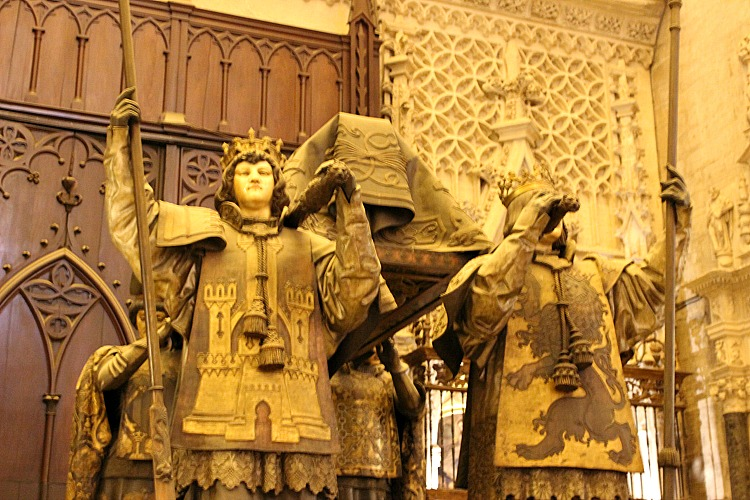 A majestic presentation of the tomb of Christopher Columbus in the Catedral Sevilla in Andalusia Spain.