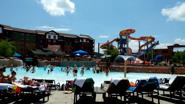 The water park at Wilderness at the Smokies with a wave pool, lazy river and water slides make for an easy all-day family fun destination.