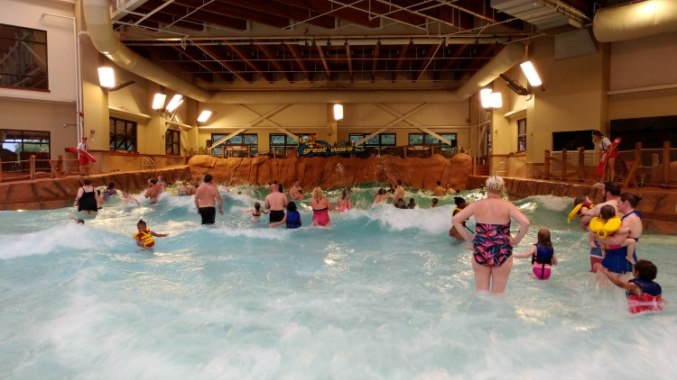The Great Wave wave pool inside the Wilderness at the Smokies Resort inside Wild Water Dome is fun for families.