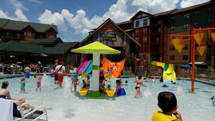 Treehouse Springs offers small slides, swings and splash areas for infants and toddlers at Wilderness at the Smokies Resort.