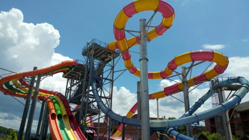 Bright, colorful water slides at the Wilderness at the Smokies Resort in Severvielle, TN