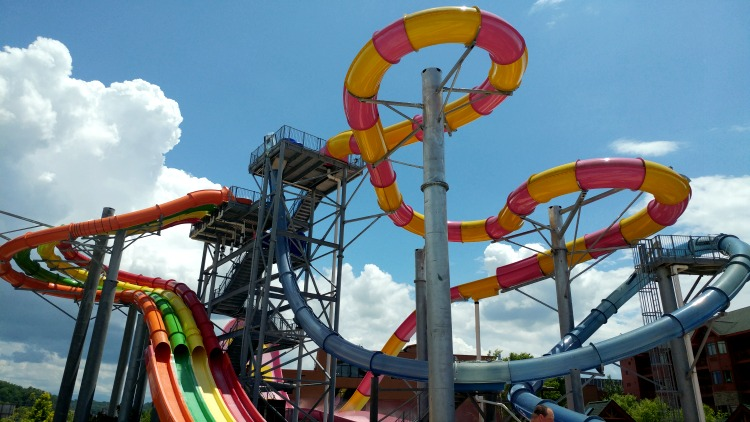 The bright, colorful slides at the Wilderness of the Smokies Resort can be seen from the road in Sevierville, TN.