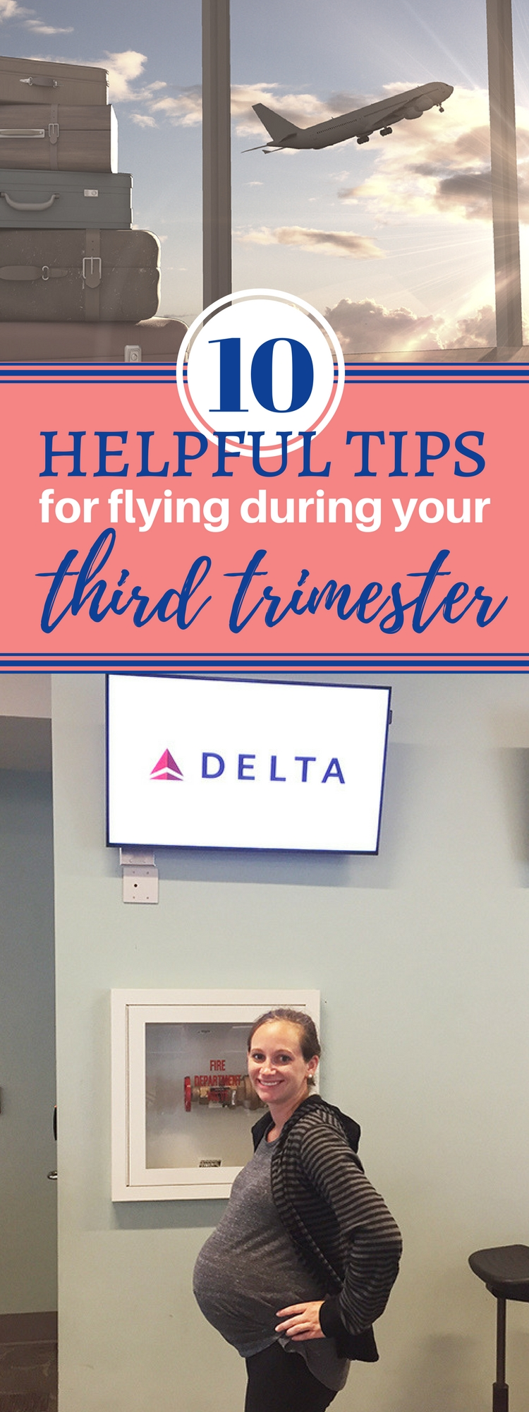 Is flying during the third trimester okay? Check out these tips third trimester travel from a mom who flew throughout all 3 trimesters.