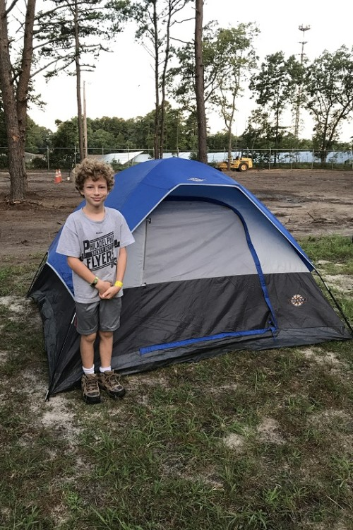 My 9 year old was a great help getting the tent set up at the campground for Diggerland USA Camp Out.