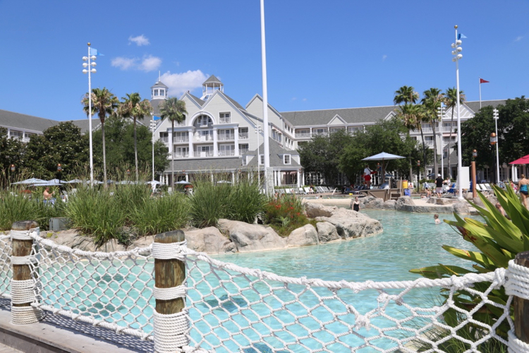 a view of one section of Disney's Stormalong Bay pool, widely touted as the best disney pool for kids and families