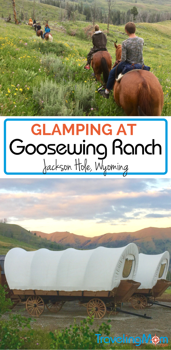 Ready to sleep in a covered wagon? Glamping at Goosewing Ranch, Jackson Hole, Wyoming.