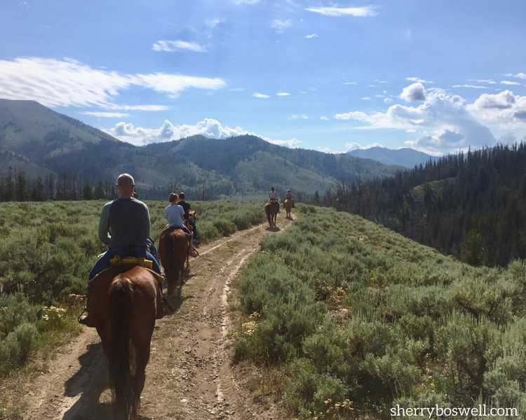 Just one of the many trail rides available while glamping at Goosewing Ranch, Jacksom Hole, Wyoming