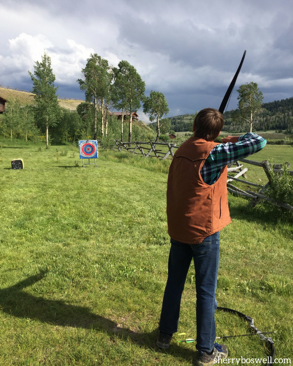 Glamping at Goosewing Ranch, Jackson Hole, WY, include ranch activities like archery
