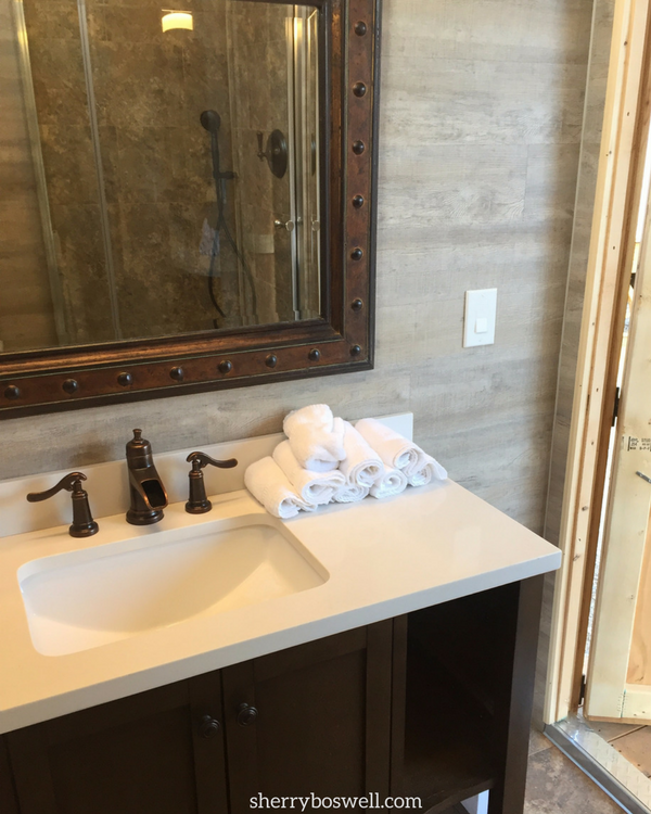 This is far from roughing it with such a comfortable bathroom for each wagon, glamping at Goosewing Ranch in Jackson Hole, Wyoming.