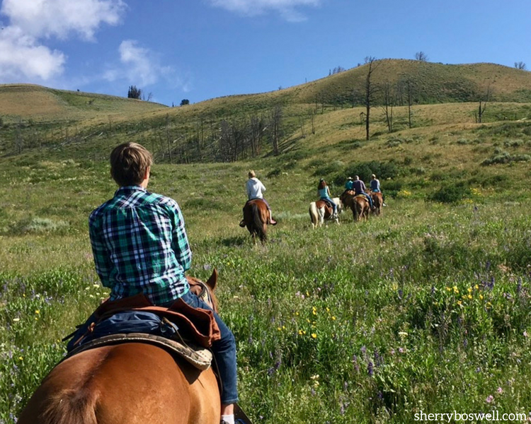 Glamping at Goosewing Ranch, Jackon Hole, WY, includes many trail rides on horseback.
