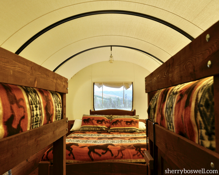 This is what Glamping at Goosewing Ranch, Jackon Hole, Wyoming, in a covered wagon looks like.
