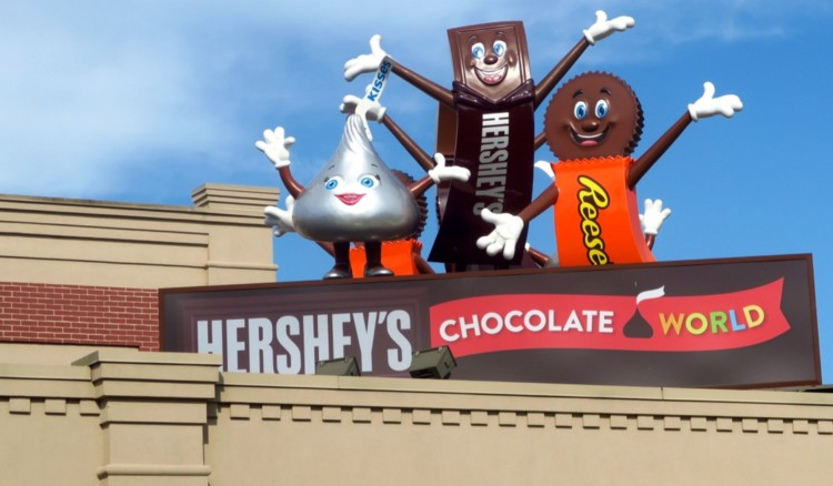 Hershey, Kiss, and Reese, three characters found throughout Hershey, Pennsylvania, greet guests on top of Hershey's Chocolate World, and 1 of 5 exciting Attractions for Families in Hershey, Pennsylvania