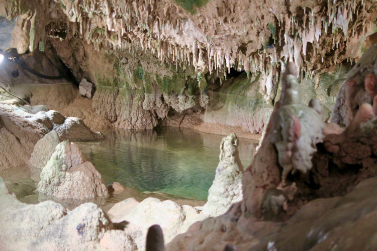 A crystal clear lake is found inside Indian Echo Caverns near Hershey, Pennsylvania.