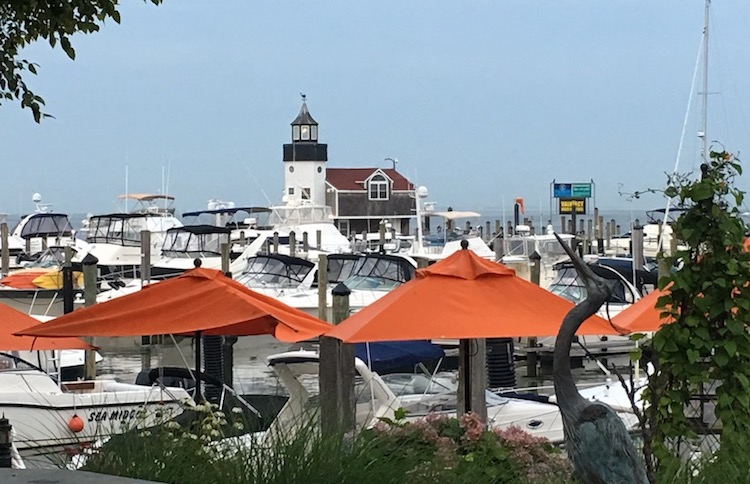 The lighthouse anchors the Saybrook Point Inn property, Seaside Connecticut resorts