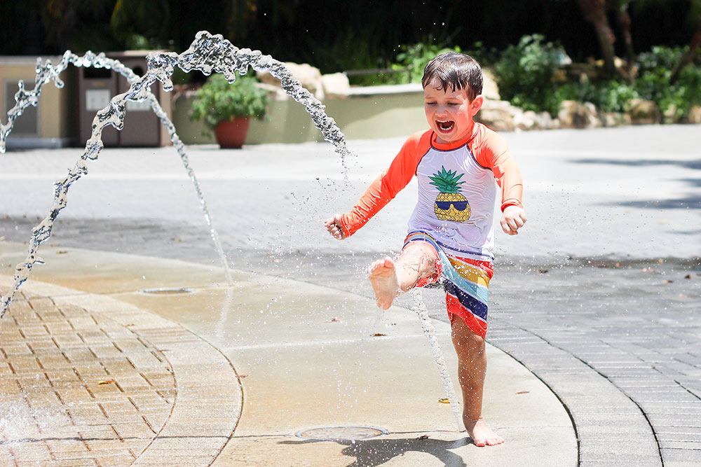 Kids can stay cool in the fountain splash pad at the Palm Beach Zoo.