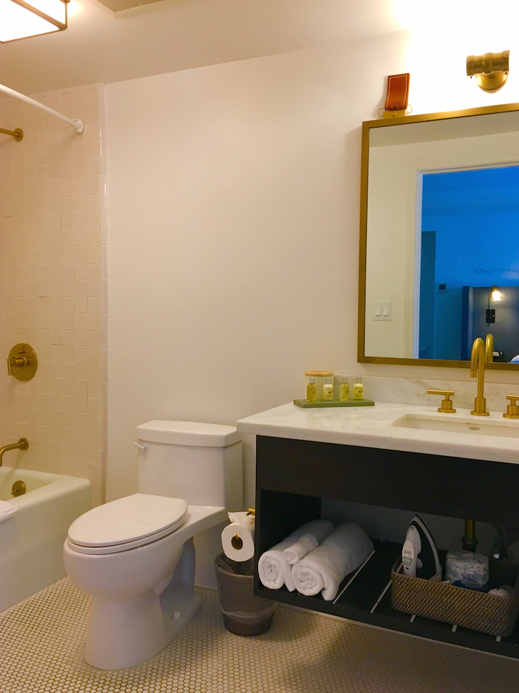 The bathroom of The Landsby features designer touches, where to stay in Solvang with kids.
