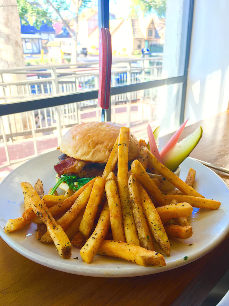 Enjoy a burger at The Landsby, where to stay in Solvang with kids.