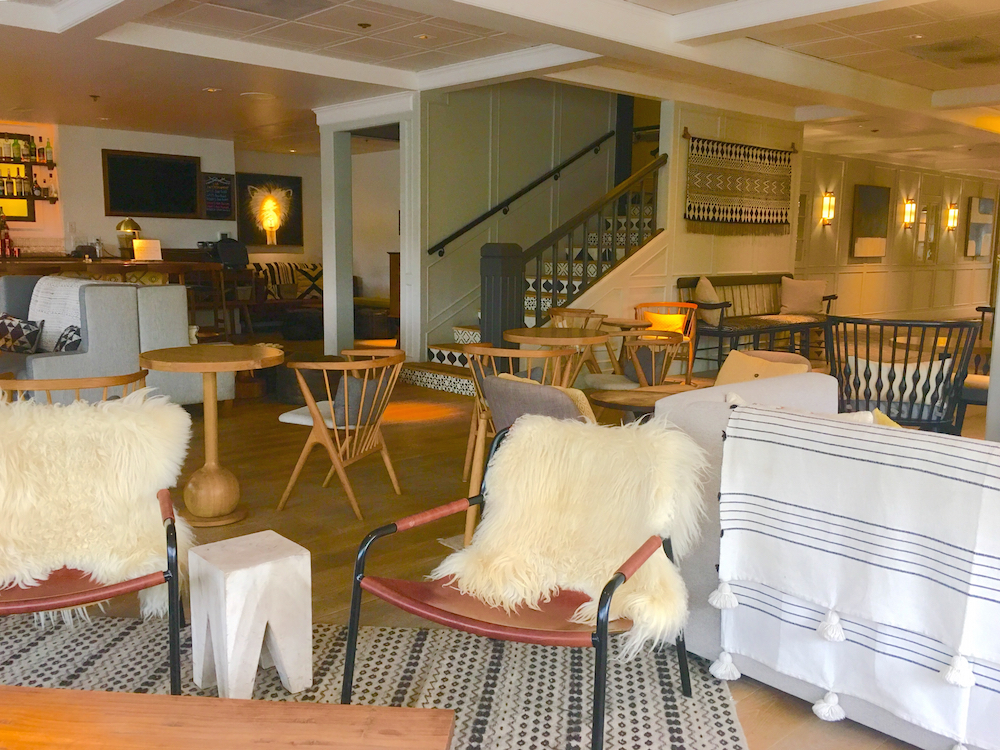 The lobby of The Landsby hosts a popular Happy Hour, where to stay in Solvang with kids