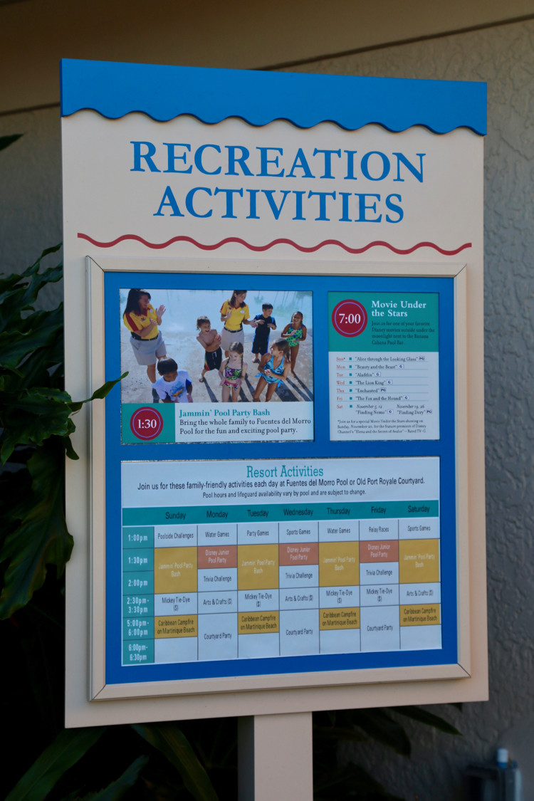 Disney World resort sign showing recreation activities to experience during non-park days