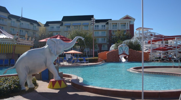 The Luna Park Pool at Disney's Boardwalk Inn, with elephants and a clown-themed slide
